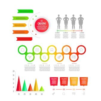 Płaski element gradientu wykresu, grafika, diagramy - części, procesy, terminy. szablon nowoczesnego biznesu do prezentacji, projektowania stron internetowych, banerów i plakatów
