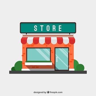 Płaski elewacji sklepu z markizą