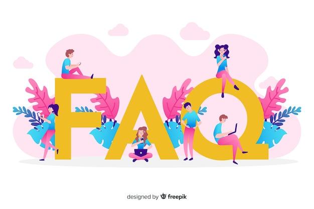 Płaski faq concep różowy tło
