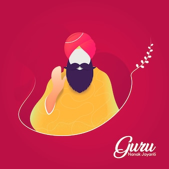 Płaski guru nanak jayanti na różowym tle