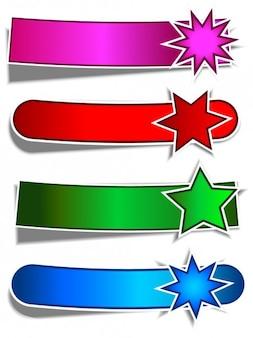 Płaski gwiezdne banery zestaw naklejki