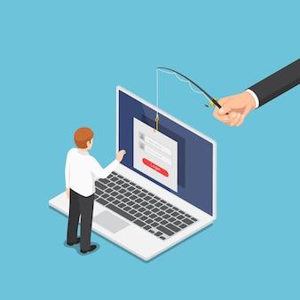 Płaski haker izometryczny 3d próbuje ukraść dane od biznesmena przez oszustwo phishingowe. koncepcja bezpieczeństwa danych hakerów i internetu.