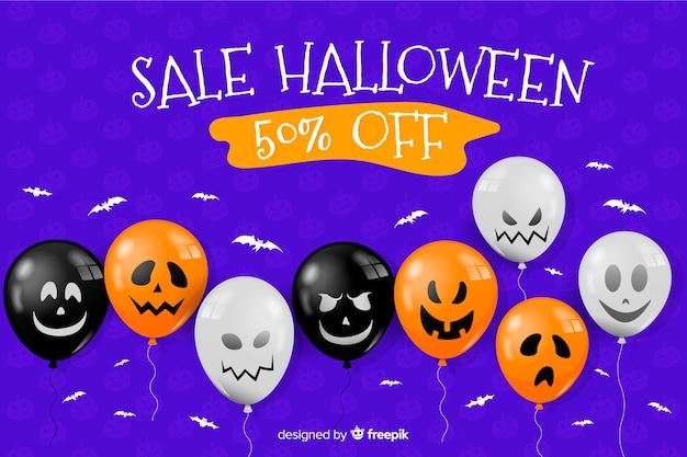 Płaski halloween sprzedaż tło z balonami