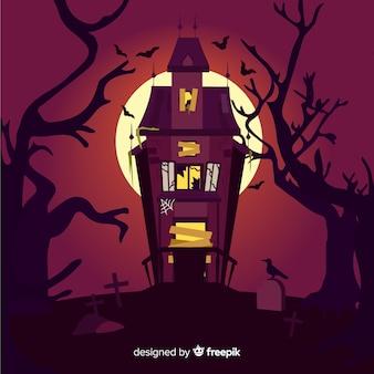 Płaski halloween straszny piękny dom