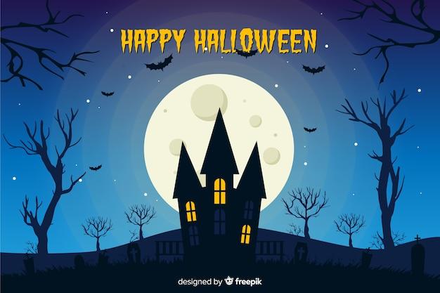 Płaski halloween tle nocy