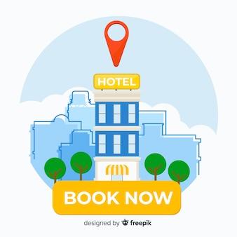 Płaski hotel rezerwacja tło