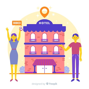 Płaski hotelowy rezerwaci pojęcia tło