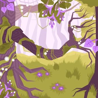 Płaski i kolorowy krajobraz z winoroślami i gałęziami drzew w dżungli