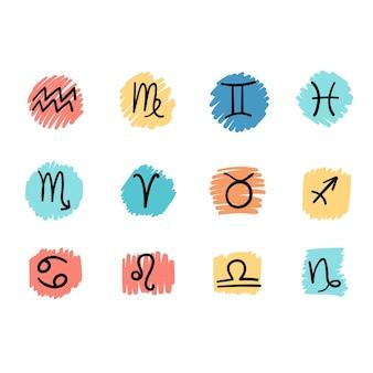 Płaski i prosty styl wektor ilustracja zestaw kolorowych znaków astrologicznych