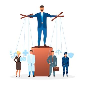 Płaski ilustracja reżimu autorytarnego. metafora systemu politycznego. forma rządu. manipulowanie i kontrolowanie instytucji, ekonomia. scentralizowane postacie z kreskówek mocy