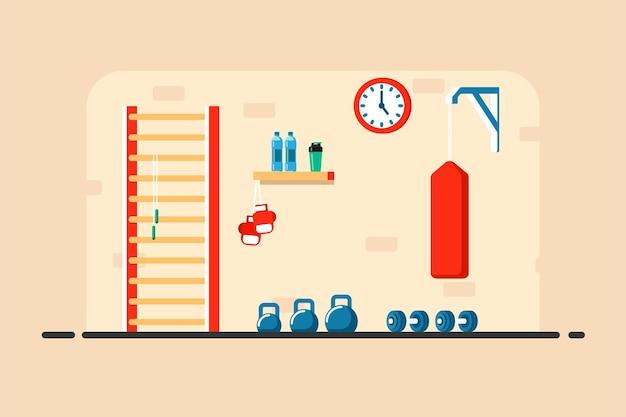 Płaski ilustracja wnętrza pokoju sportowego. kettlebells, hantle, worek treningowy i inny sprzęt sportowy.