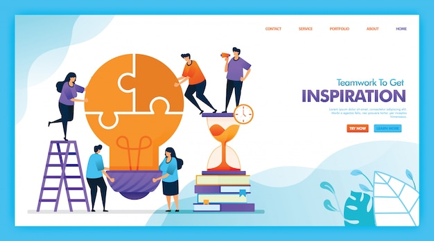 Płaski ilustracyjny projekt pracy zespołowej, aby uzyskać inspirację.