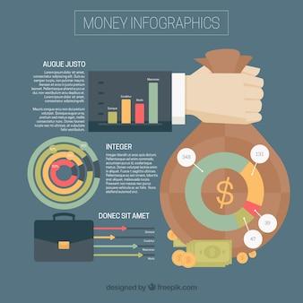 Płaski infografika szablon o pieniądze