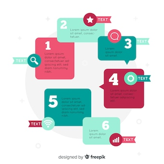 Płaski infographic kroki szablon