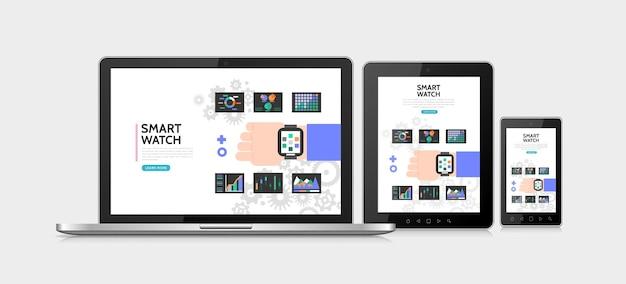Płaski inteligentny zegarek kolorowy koncepcja z nowoczesnym smartwatchem na rękę, wykresy, wykresy, diagramy, adaptacyjne