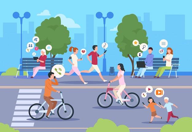 Płaski internet miejskiej ulicy. miasto wifi ludzie chodzą w parku miasto krajobraz styl życia dziewczyny i chłopca. technologia mobilnego internetu