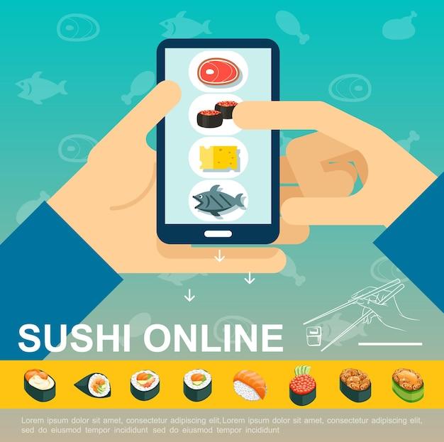 Płaski internetowy szablon dostawy japońskiej żywności z mężczyzną trzymającym telefon komórkowy z aplikacją zamówienia sushi izometryczną ilustracją sashimi i rolkami