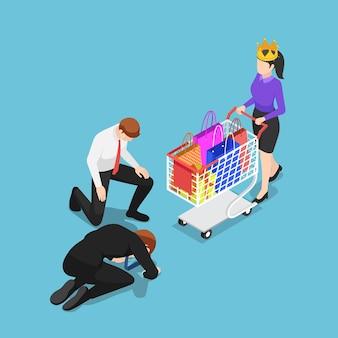 Płaski izometryczny biznesmen 3d klęczący przed klientem z koroną klient jest królem koncepcji