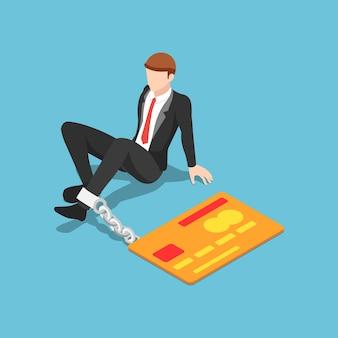Płaski izometryczny biznesmen 3d przykuty kartą kredytową
