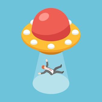 Płaski izometryczny biznesmen 3d uprowadzony przez ufo