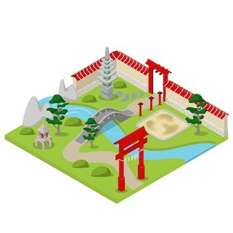 Płaski izometryczny japoński ogród miasto koncepcja bloku konstrukcyjnego