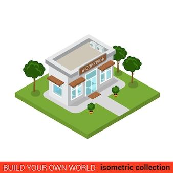 Płaski izometryczny kawiarnia kawiarnia restauracja dom budulcem infografika zbuduj własną kolekcję świata infografik
