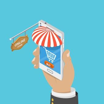 Płaski izometryczny koncepcja mobilnego sklepu.