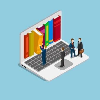 Płaski izometryczny kurs edukacji online koncepcja biblioteki wiedzy