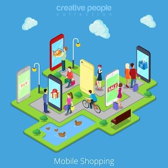 Płaski izometryczny mobilny e-commerce elektroniczny biznes online mobilne zakupy