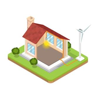 Płaski izometryczny nowoczesny alternatywny energooszczędny budynek ilustracja wektorowa izometria 3d eco