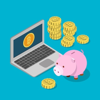 Płaski izometryczny portfel oszczędnościowy skarbonka bitcoin