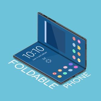 Płaski, izometryczny składany smartfon 3d, którego wyświetlacz można zginać. koncepcja biznesu i technologii.