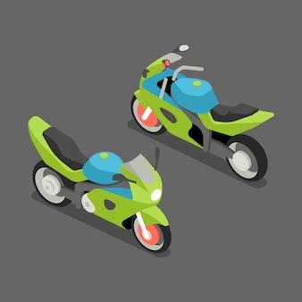 Płaski izometryczny sportbike.