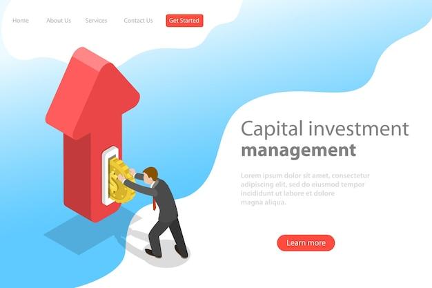 Płaski izometryczny szablon strony docelowej inwestycji finansowych
