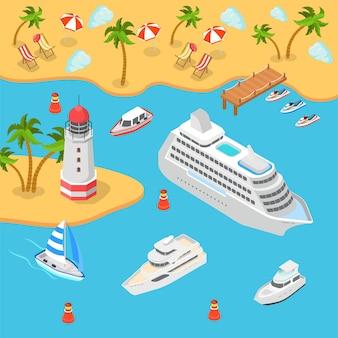 Płaski izometryczny transport morski brzeg morza tropikalna plaża latarnia morska rejs pasażerski liniowiec jacht