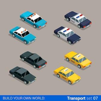 Płaski izometryczny zestaw ikon transportu miejskiego wysokiej jakości. samochód policyjny szeryfa taksówka czarny specjalny zbuduj własną kolekcję infografik internetowych