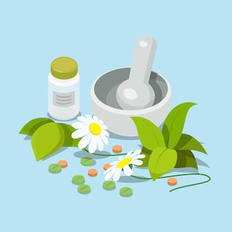 Płaski izometryczny ziołowy heeling leczyć koncepcję medycyny alternatywnej