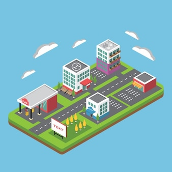 Płaski izometrycznym miasta