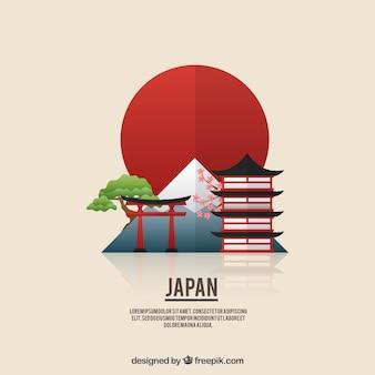 Płaski japoński krajobraz w tle