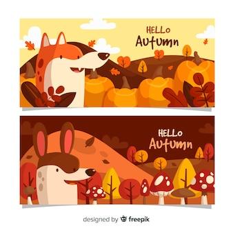 Płaski jesień banery szablon ze zwierzętami