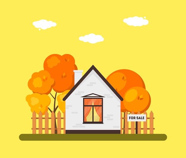 Płaski jesień krajobraz z drewnianego domu powierzchownością. budynek na sprzedaż z ogrodzeniem i drzewami. koncepcja nieruchomości. wektorowa sezonowa ilustracja.