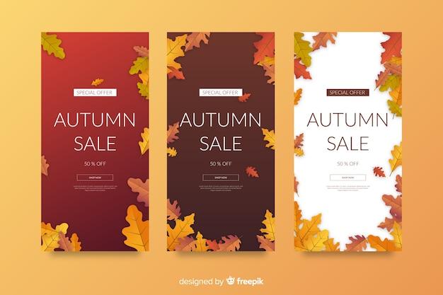 Płaski jesień sprzedaż banerów szablon
