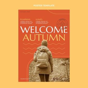 Płaski jesienny pionowy plakat szablon