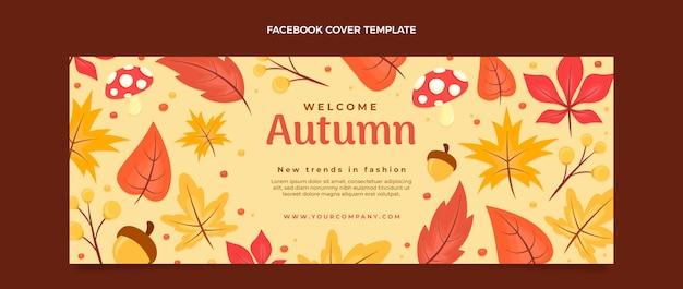 Płaski jesienny szablon okładki mediów społecznościowych