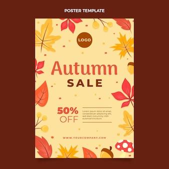 Płaski jesienny szablon plakatu pionowej sprzedaży
