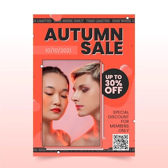 Płaski jesienny szablon ulotki pionowej sprzedaży ze zdjęciem