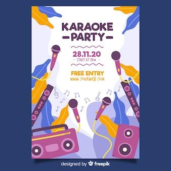 Płaski karaoke noc plakat szablon
