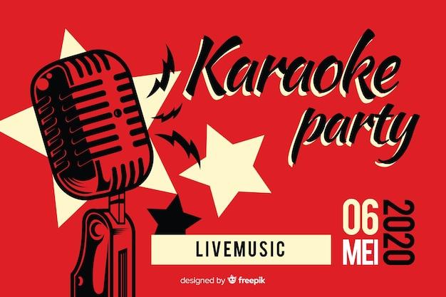 Płaski karaoke party banery szablon