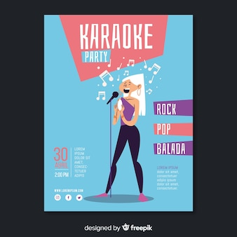 Płaski karaoke party plakat szablon