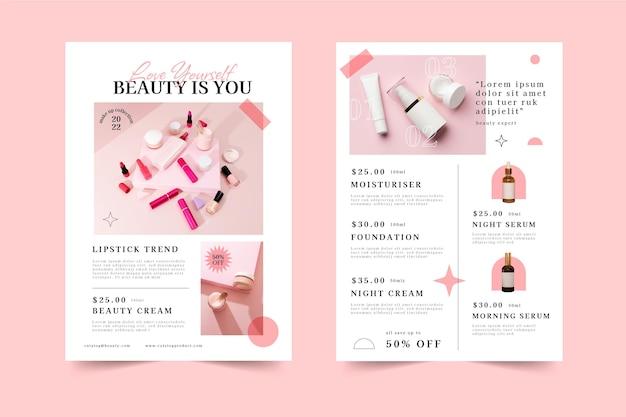 Płaski katalog produktów kosmetycznych